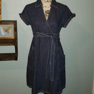New Motherhood Denim Wrap Maternity Dress